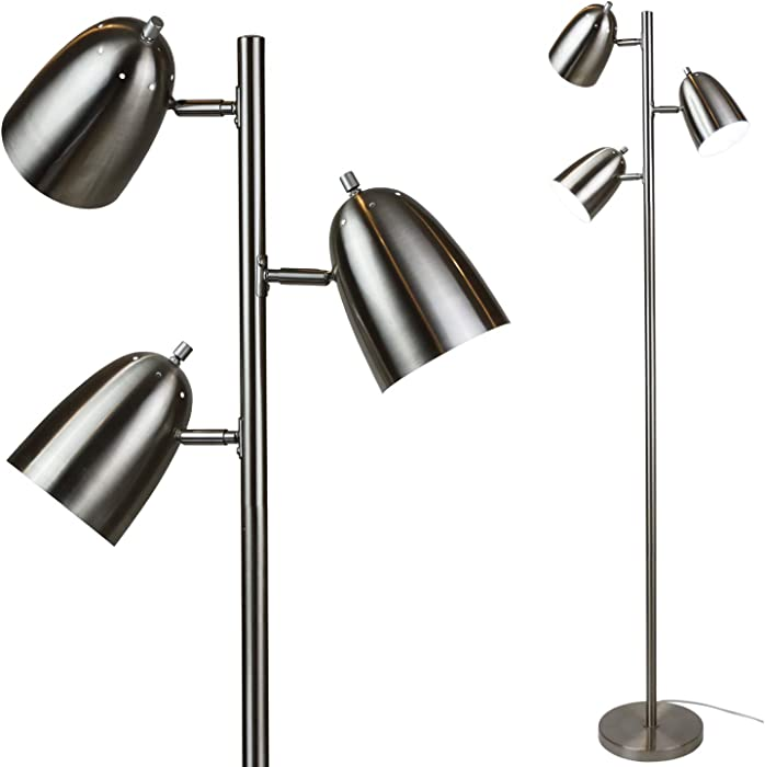 LOFT 3 Light Floor Lamp with Adjustable Reading Lights by Lightaccents - Tree Style Standing Lamp with Adjustable Lights - Floor Standing Pole Light - Living Room Lamp Brushed Nickel Finish