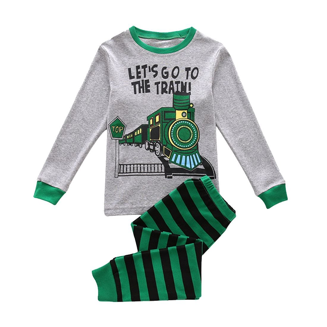 Boys Pajamas Soft Long Sleeves Toddler Clothes Train Kids Pjs Sleepwear 2 Piece Yzjcafriz