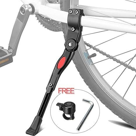 XiDe Pata de Cabra para Bicicleta, Aluminio Soporte Ajustable del Retroceso de Bici Caballete Bicicleta con Llave Hexagonal y Campana de Bicicleta 22