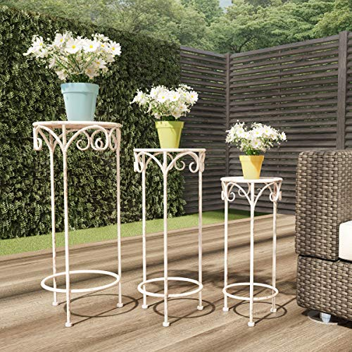 (Pure Garden 50-LG1158 Stands - Set of 3 Indoor or Outdoor Nesting Wrought Iron Round Decorative Potted Plant Accent Display Accessories (Antique White))