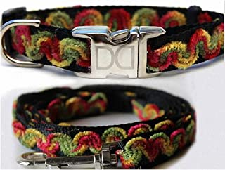 "product image for Diva-Dog 'Waves Merlot' Custom Small Dog 5/8"" Wide Dog Collar with Plain or Engraved Buckle, Matching Leash Available - Teacup, XS/S"