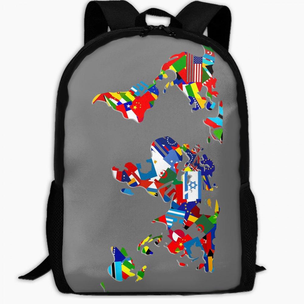 子供の学校バックパック世界国マップアウトドア旅行バックパック学生バックパックボーイズBook BagsユニセックスショルダーDaypack   B07FVT2CDB