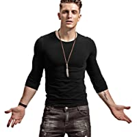 Wiekose Fitting Men Soft Stretchy Long Sleeves Athletic Muscle Cotton T Shirt