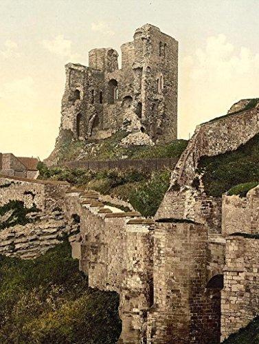 Vintage Travel & Landscape Poster - Scarborough the castle Yorkshire England 8.5 x 11 - Scarborough Castle