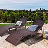 Tangkula Folding Patio Rattan Chaise Lounge Chair Pool Outdoor Furniture (2)