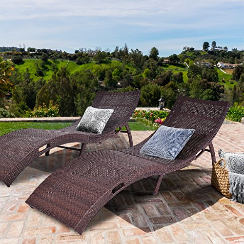 Tangkula Folding Patio Rattan Chaise Lounge Chair Pool Outdoor Furniture (2) (Ground To Low Furniture The Patio)