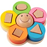 PlayMaty Wooden Puzzle Baby Kids Learning Toy Wooden Montessori Teaching Aid Flower Shape Column Toy