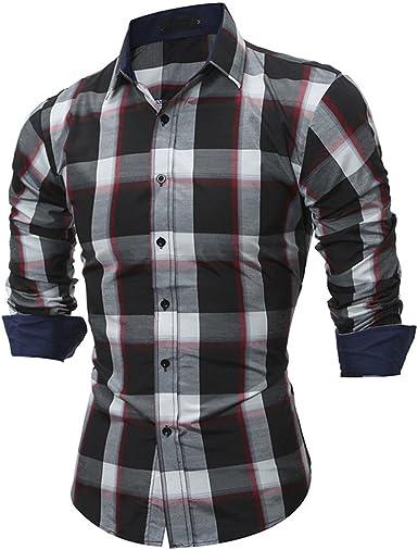 AiRobin Camisa de Manga Larga a Cuadros de Color Block a ...