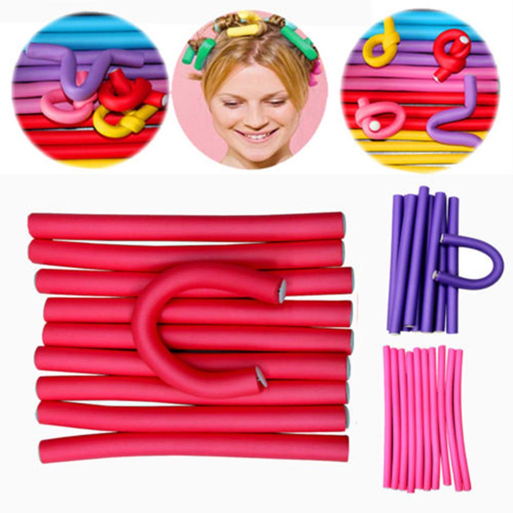 Bruselas08 - Juego de 10 rizadores de pelo de esponja flexible de espuma, rodillo de pelo de espuma, para rizar el cabello, rodillos de espiral para el hogar, viajes, bricolaje, estilo de pelo Brussels08