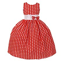 a9dc29596c Pink Wings Girls Party Wear Red Polka Dot Cotton Frock Birthday Cotton Dress  For Girls (