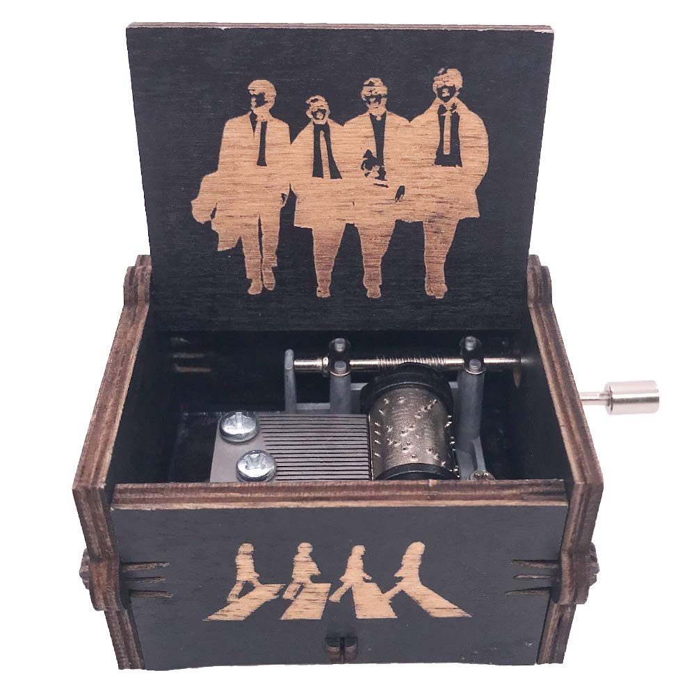The Beatles Music Box Hand Crank Musical Box Carved Wood Musical Gifts,Play Let it Be (Black) by YouTang