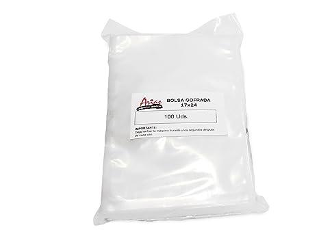 Paquete de 100 bolsas gofradas. Medidas 17x24 cm.