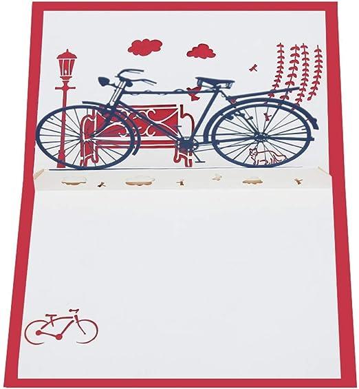 Vektenxi - Tarjeta de felicitación 3D, diseño de bicicleta, hecha ...