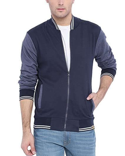 Campus Sutra Men's Quilted Cotton Jacket  (AW16_HVAR_M_PLN_BUDN_Blue::Denim_Small)