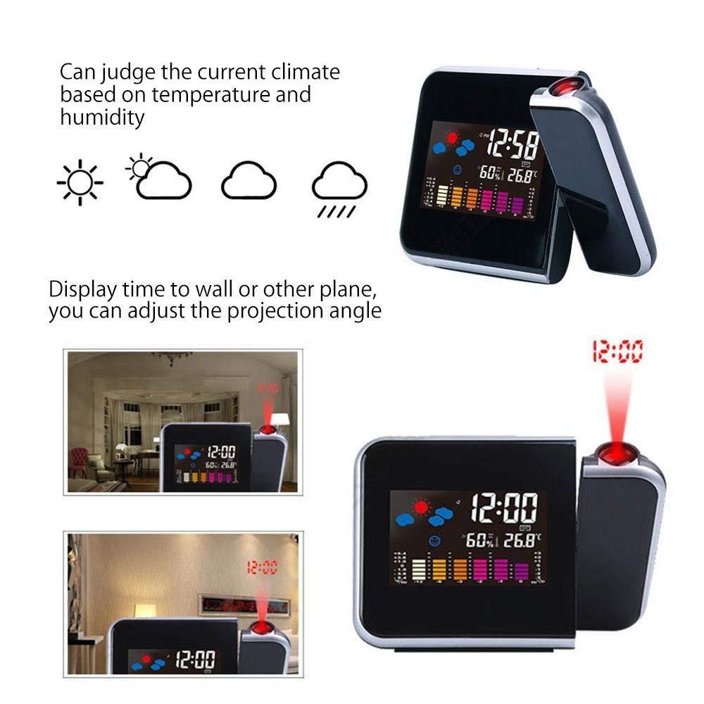 QYLT Sveglia a Proiezione Orologio Sveglia a Proiezione Digitale,Sveglia Digitale LCD Nero Porta di Ricarica USB Temperatura e Data e Previsioni del Tempo,Funzione di Snooze