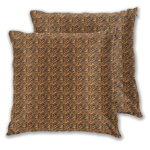 Decor Pillow Covers Polyester Plush Square Throw Pillow Sofa Cushion Covers Set,Tiger Skin With Stripes And Warm Toned Background Motifs From African Culture,Couch Pillowcase Set of 2 Pack 18x18 ()
