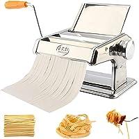 Stainless Steel Manual Fresh Pasta Maker, Spaghetti Maker Roller Machine Lasagne Noodle Fettuccine Tagliatelle Maker with Clamp