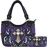Western Concealed Carry Rhinestone Cross Studded Country Purse Handbag Messenger Shoulder Bag Wallet Set (Purple Set)