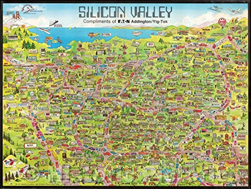 Historic Map | Silicon Valley Compliments of Eaton Addingtion/Yig-Tek (Early Apple Computer Graphic), 1983, City Graphics of America | Vintage Wall Art 24in x 18in (Best Of Silicon Valley 2019)