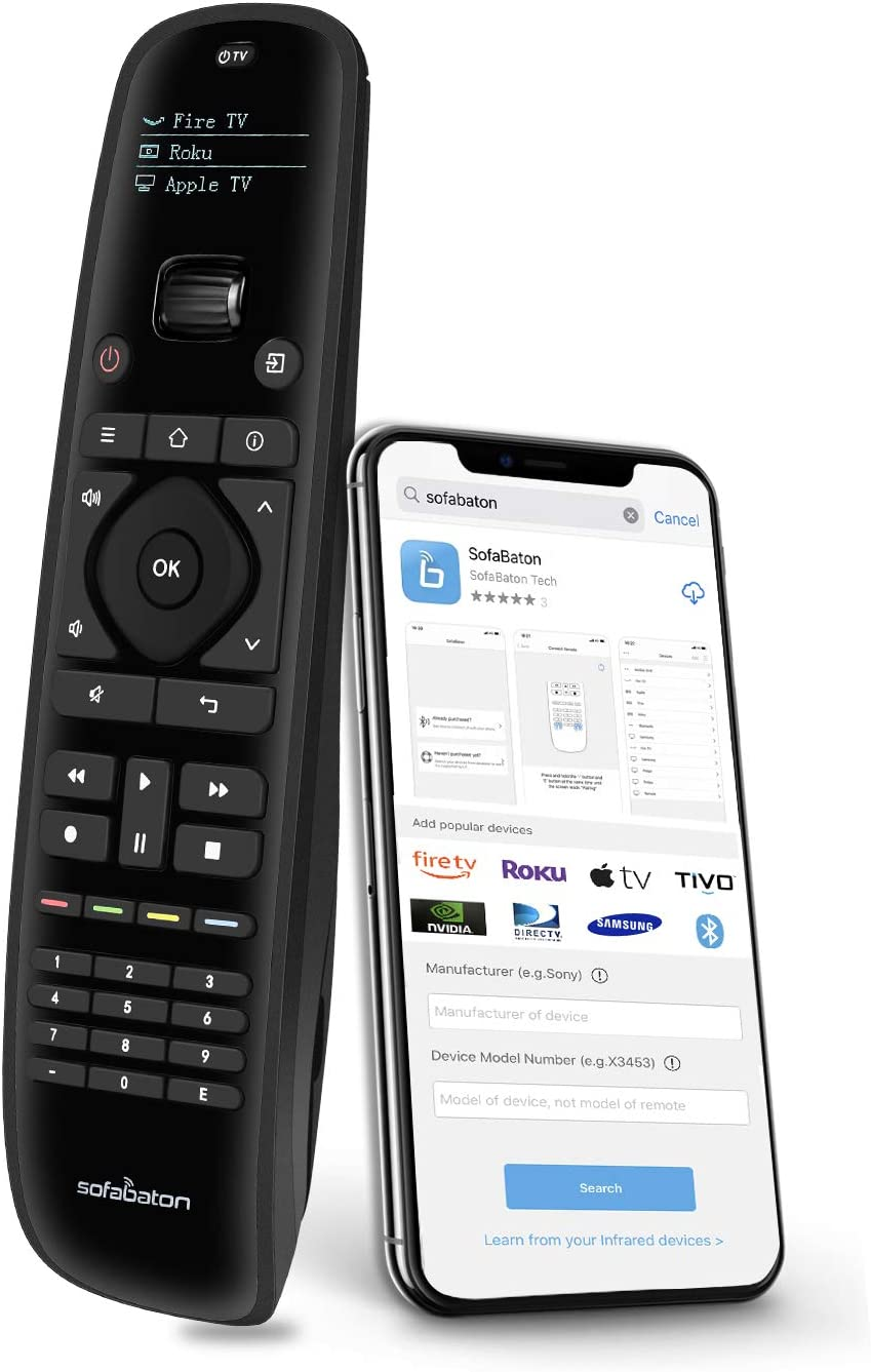 Sofabaton U1 Universal Remote Control Smart APP Setting, Harmony Remote Replace up to 15 Bluetooth & IR Devices, All in One Remote with OLED Display and Multi-Command Macro Button (2021 Updated)