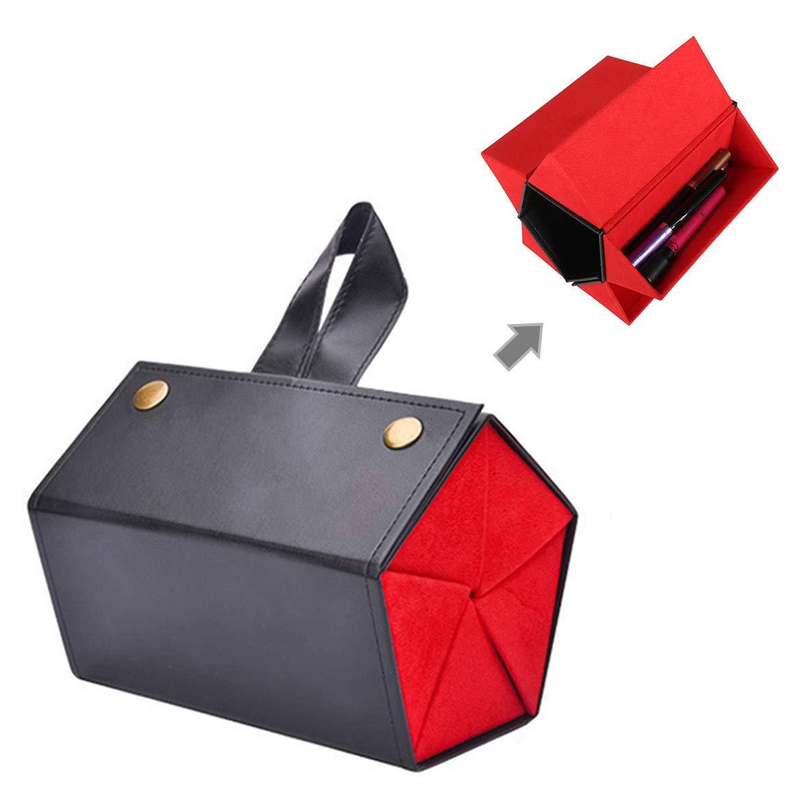 Folding Design PU Eyeglasses Storage Case Box Multiple Hanging Eyewear Holder Display 5-Slot Travel Sunglasses Organizer