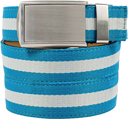 SlideBelts Women's Canvas Belts - Taffy Blue with Silver Buckle (Trim-to-fit: Up (Ladies Canvas Belts)