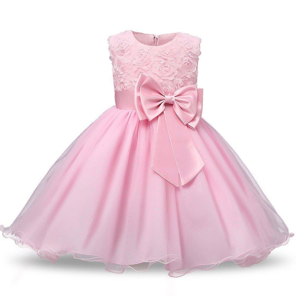 Para 0 - 12Y Niñas Vestido, Woopower flores lazo formal boda fiesta ...