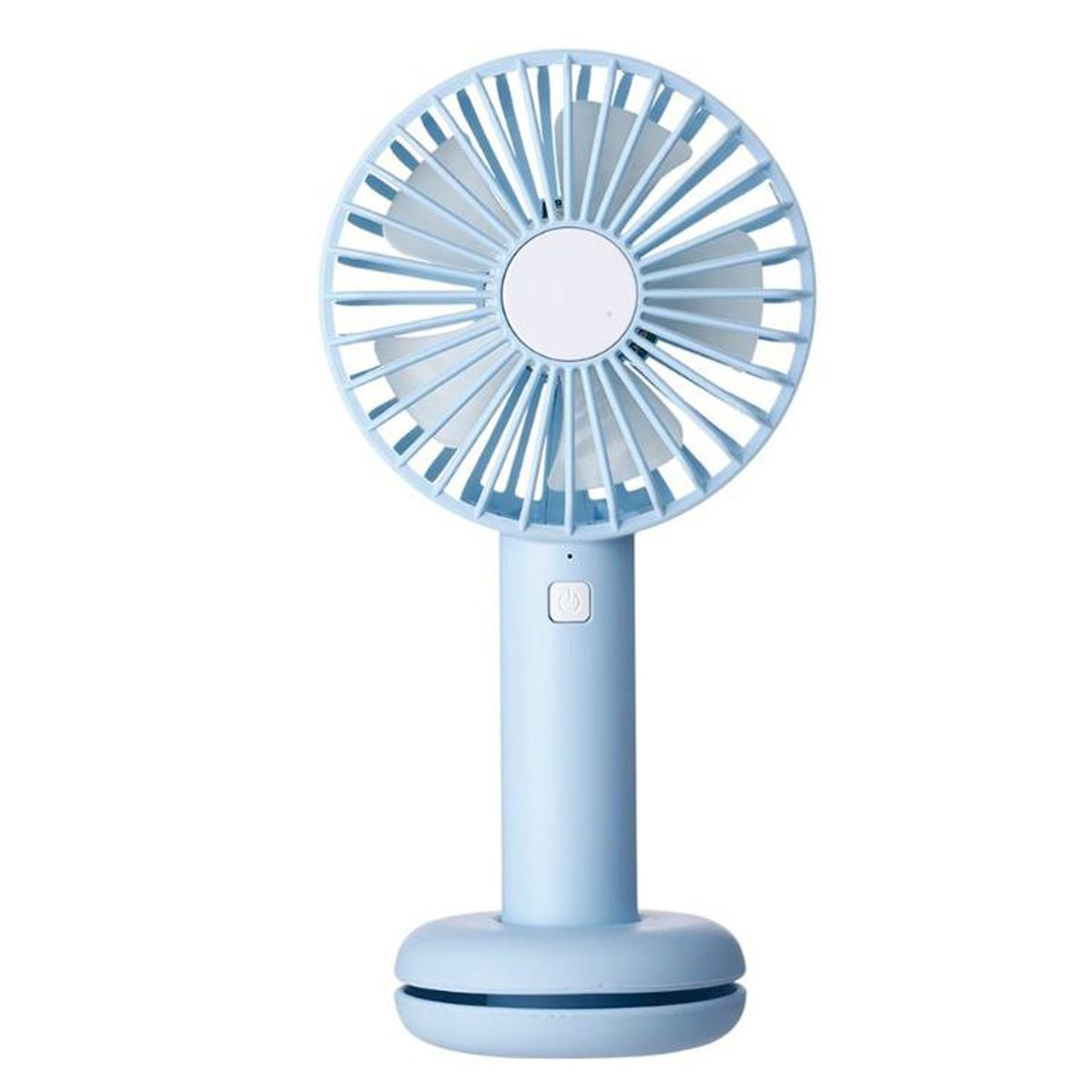 Mini Handheld Personal Fan with 7 Color Changing Led Night Light USB Rechargeable Battery Operated Cooling Fan Portable Desk Fan with cable base for Office Outdoor Household Traveling Dormitory (Blue)