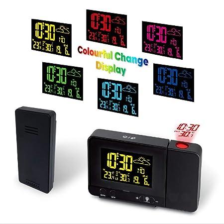 FOOSKOO Clock Despertador Digital Proyector Reloj de Alarma de ...