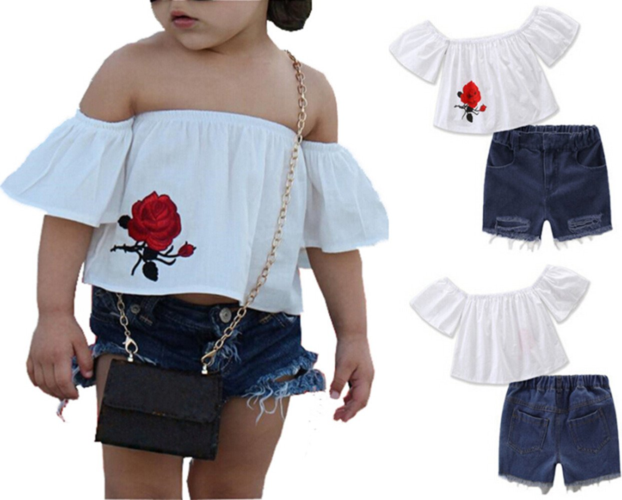 Baby Girl Off shoulder Flower Tops + Denim Shorts Pants Outfits Clothes