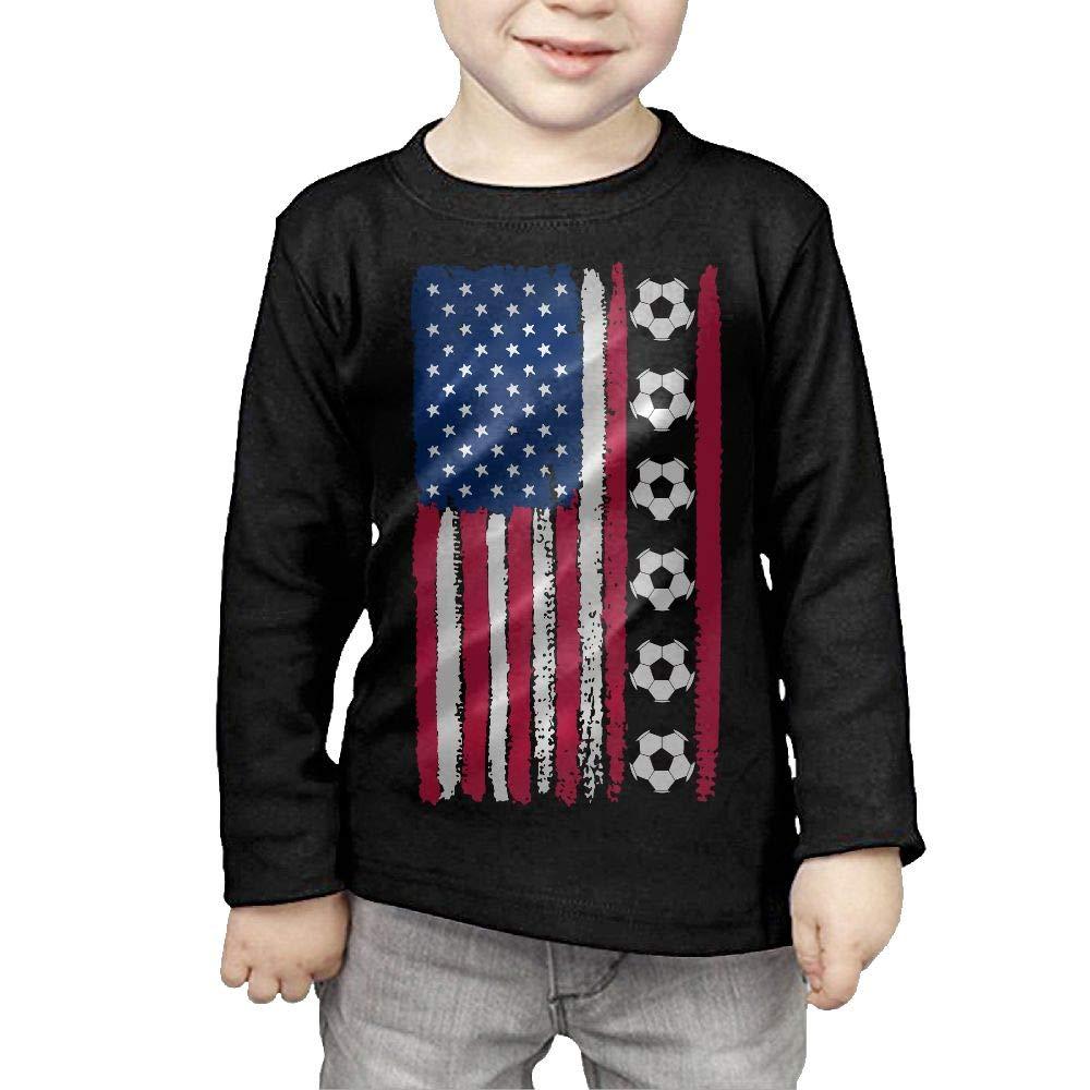 CERTONGCXTS Little Girls USA Flag Soccer Ball ComfortSoft Long Sleeve Shirt
