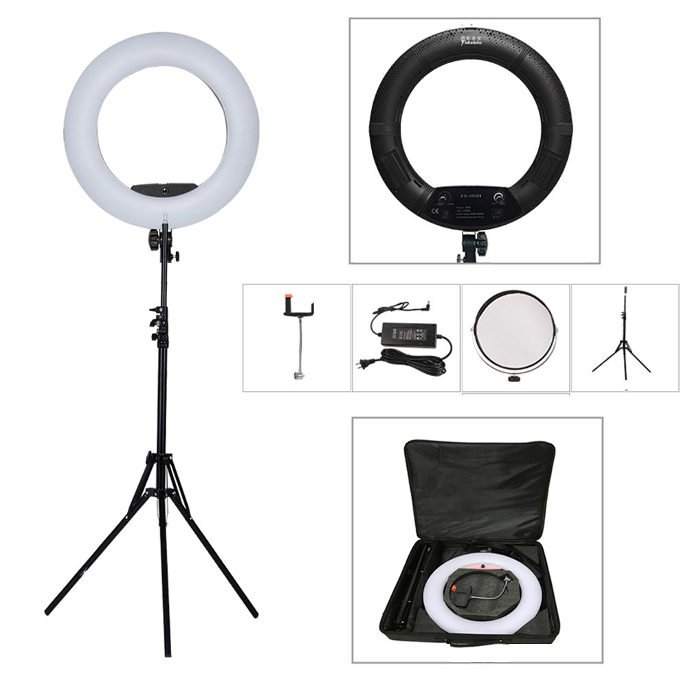 Yidoblo 18 Inch LED Ring Light Kit With Phone/Camera Holder,Makeup Mirror,Stand and Carrying Bag, Bicolor Dimmable Photo Studio Video Portrait Film Selfie Youtube Photography Lights Black