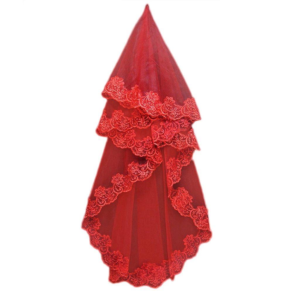 Toruiwa Voile de Mari/ée Mantille de Mariage en Dentelle avec D/écoration Broderie Fleurs 1.5M