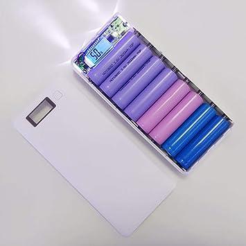 Ballylelly 30000mAh USB 2 Puertos Power Bank Case 8x18650 Cargador de batería Caja DIY para teléfono: Amazon.es: Electrónica
