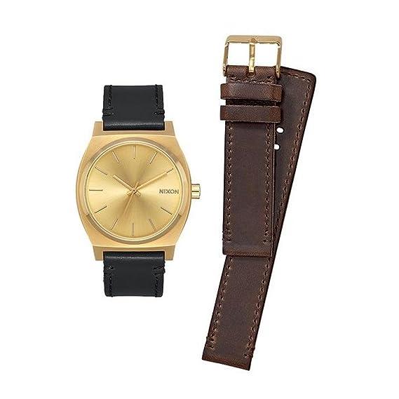 Nixon A1137-2591-00 - Reloj para hombre Time Teller 37mm, Dos correas, Dorado/Negro/Café: Amazon.es: Relojes