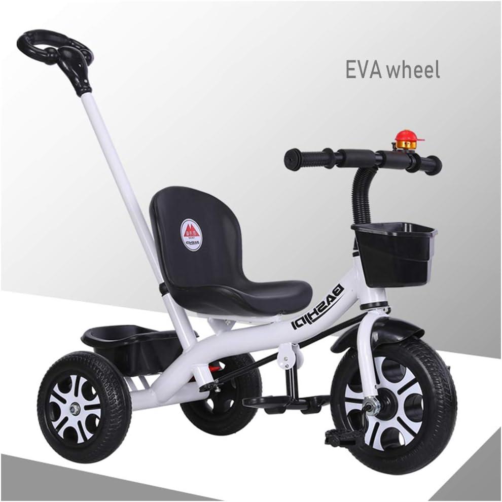HBSC Triciclo para niños Baby Trike Triciclo con Barra de Empuje Desmontable y Rueda silenciosa, manillares y Asientos Ajustables, el empujador Puede controlar la dirección 1bicycle Regalo White2