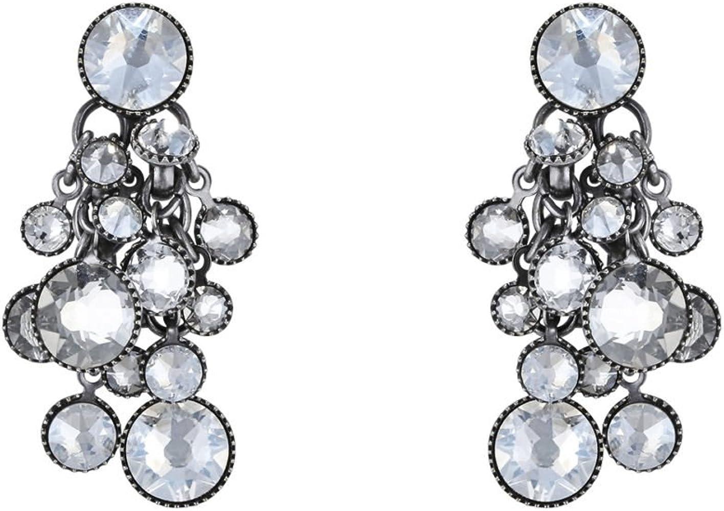 Konplott Damen Ohrhänger Waterfalls Silber Glas weiß