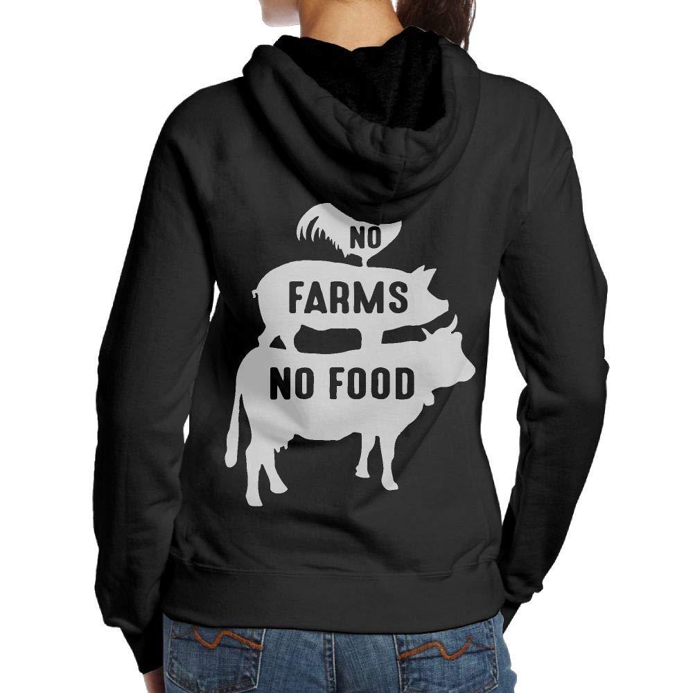 Back Print BMWEITIHB No Farms No Food1-1 Womens Hooded Sweatshirts