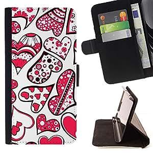 Momo Phone Case / Flip Funda de Cuero Case Cover - Corazones de San Valentín rojas Blanco Amor lindo - Huawei Ascend P8 Lite (Not for Normal P8)