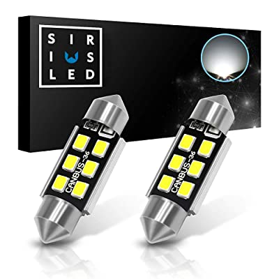 "SIRIUSLED Super Bright 2835 Chipset Canbus Error Free LED Festoon Bulbs for Car Truck Interior License Plate Dome Courtesy Lights 1.50"" 36MM Festoon 6418 C5W 6000K Xenon White Pack of 2: Automotive"