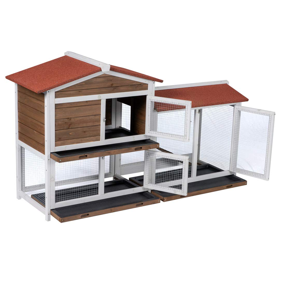 Good Life Two Floors Wooden Outdoor Indoor Roof Waterproof Bunny Hutch Rabbit Cage Guinea Pig Coop PET House for Small to Middle Animals with Stairs and 3 Cleaning Tray by GOOD LIFE USA (Image #3)