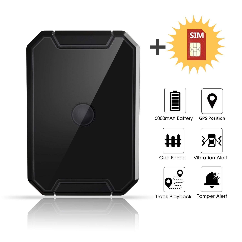 Localizador GPS Coche, Lncoon Portátil GPS Tracker Magnético Fuerte 6000mAh con GPS en Tiempo Real de Rastreo y Alarma Antirrobo para Coche ...