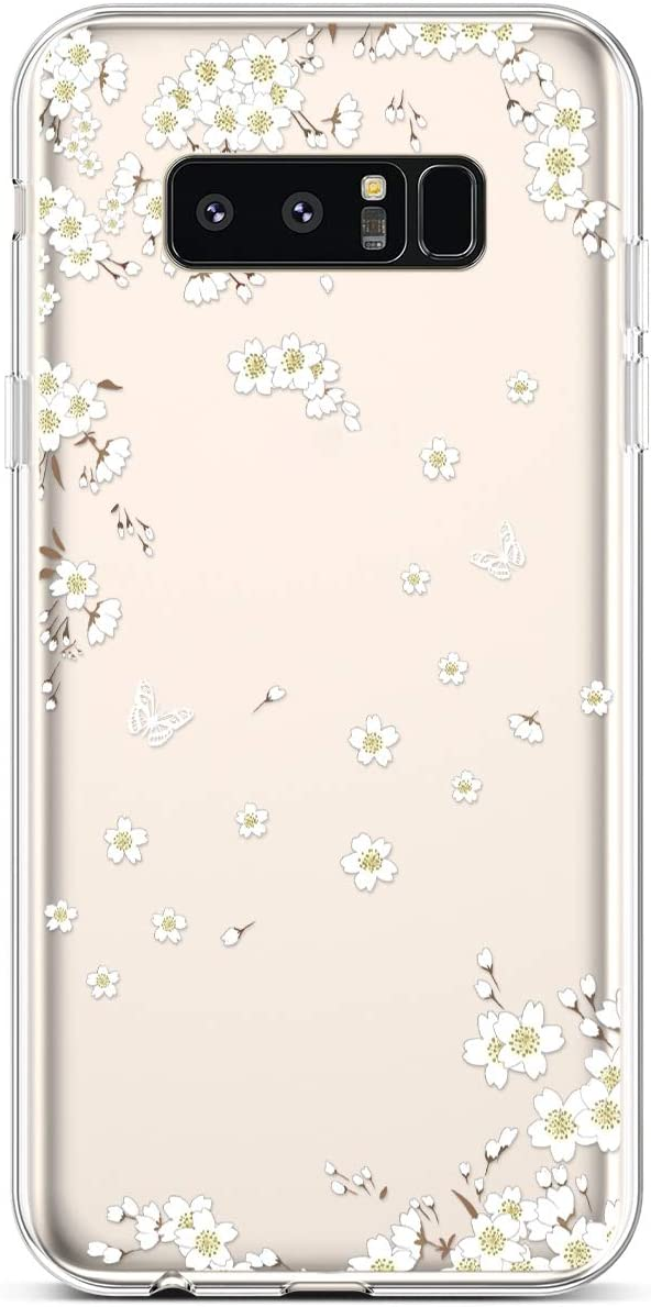Case for Galaxy Note 8 Case,Cute Art Design Soft Flexible Crystal Clear TPU Silicone Rubber Case Ultra thin Transparent TPU Bumper Cover Phone Case for Samsung Galaxy Note 8,Pink Green Sunflower