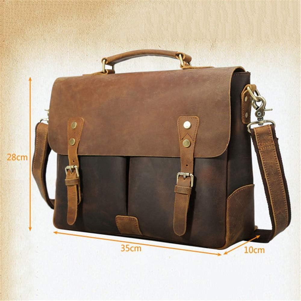 Sunsamy Laptop Bag Retro Leather Mens Briefcase College Messenger Bag Outdoor Leisure Crazy Horse Leather Shoulder Messenger Bag 13 Inch Laptop Bag Color : Dark Brown, Size : 35x28x10cm