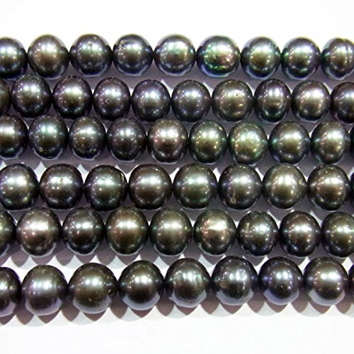 8mm Genuine Black Pearl Bracelet (TheTasteJewelry 8-9mm Off Round Genuine Black Freshwater Cultured Pearl 15 inches 38cm Jewelry Making Necklace - 3666)