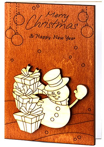 Handmade Wooden Sustainable Merry Christmas Card (with Winter Snowman)
