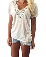 Women T-Shirt,Haoricu 2017 Hot Sale! Women Summer Lace Short Sleeve Blouse