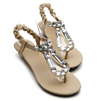 Women's Shoe Low Heel Beaded Thong Multi Color Sandal