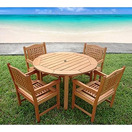 Amazon Com Overstock Amazonia Miramar 5 Piece Wood Patio Set