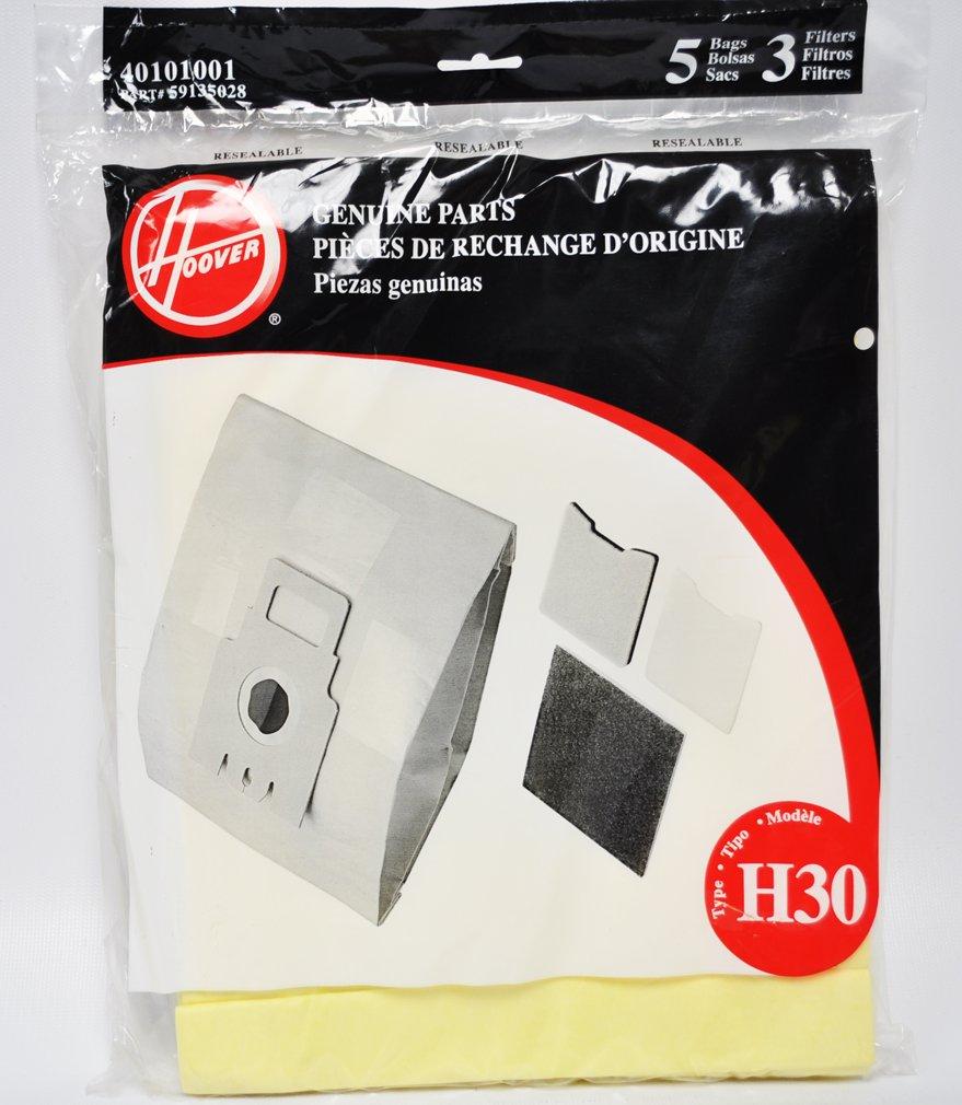 Hoover Type H30 Pack 5 Vacuum Bags 3 Filters 40101001